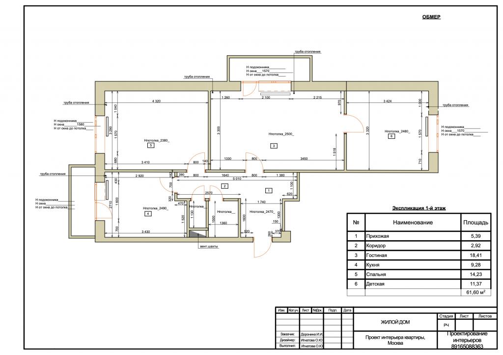 Пример замера дизайна интерьера